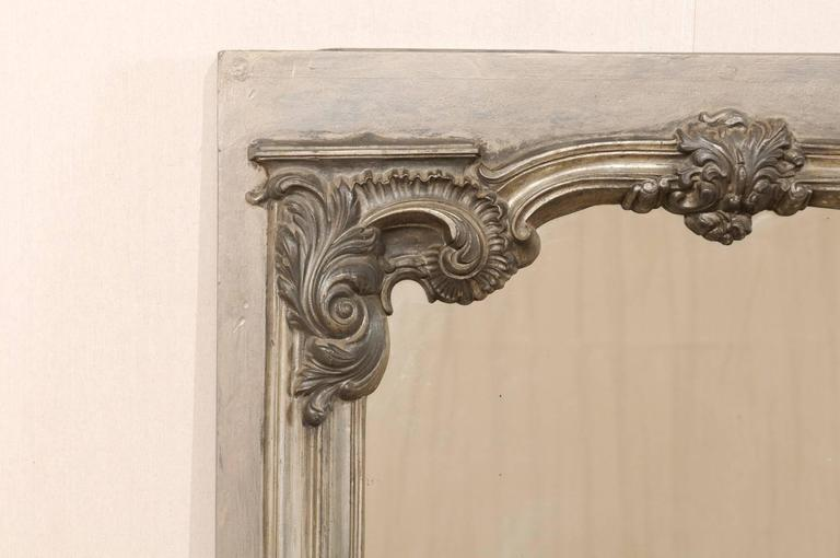 Large 19th Century Swedish Mirror with Ornate Metal Design and Wood Surround 6