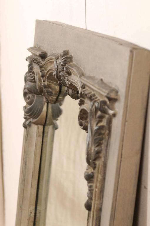 Large 19th Century Swedish Mirror with Ornate Metal Design and Wood Surround 8