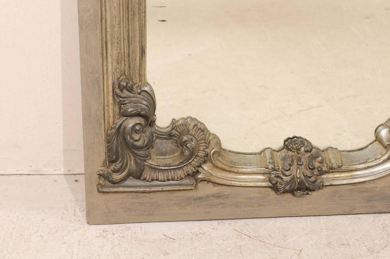 Large 19th Century Swedish Mirror with Ornate Metal Design and Wood Surround 9