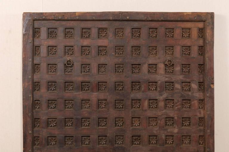 Indian Large 19th Century Carved Wood Ceiling Panel from Tamil Nadu, South India For Sale