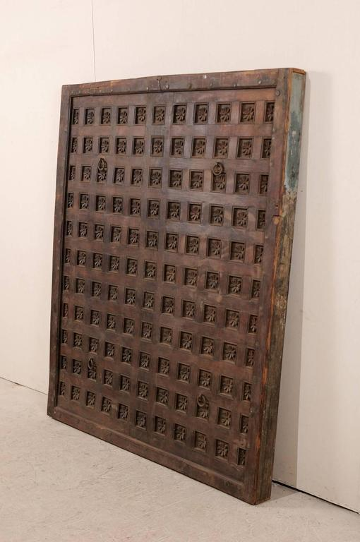 Large 19th Century Carved Wood Ceiling Panel from Tamil Nadu, South India For Sale 1