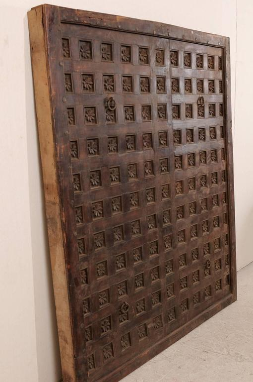 Iron Large 19th Century Carved Wood Ceiling Panel from Tamil Nadu, South India For Sale