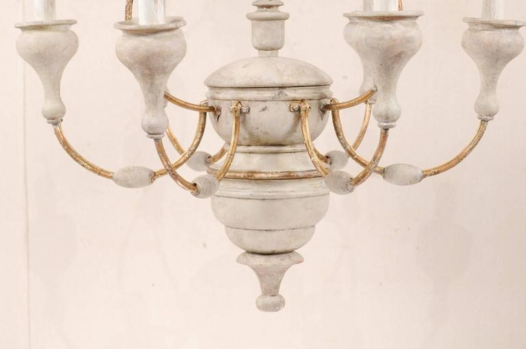 Italian Light Colored Painted Wood and Metal Chandelier with Gold Accents For Sale 2
