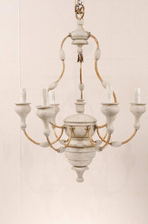 Italian Light Colored Painted Wood and Metal Chandelier with Gold Accents In Good Condition For Sale In Atlanta, GA