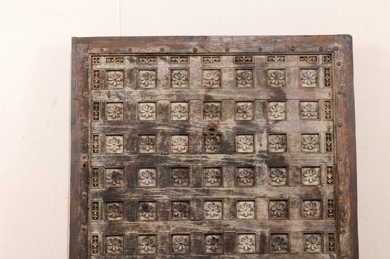 19th Century Indian Ceiling Panel / Wall Decor with Carved Lotus Flower Details In Good Condition For Sale In Atlanta, GA