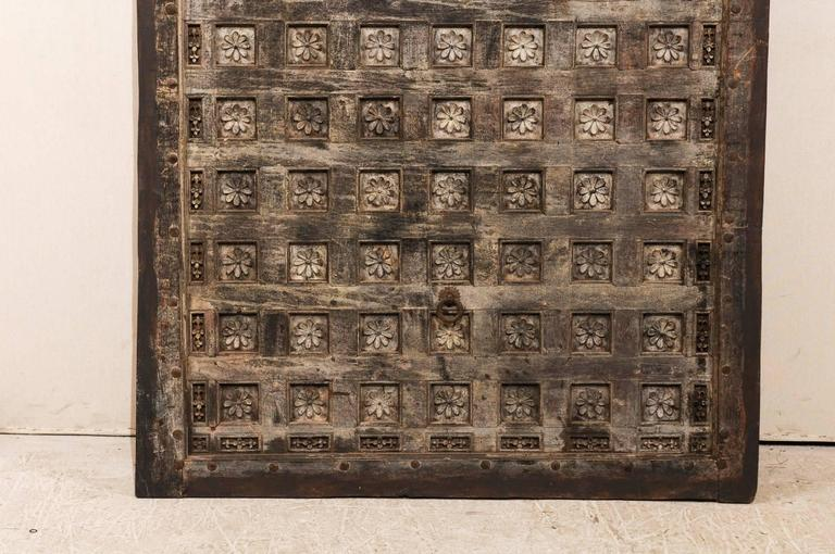 19th Century Indian Ceiling Panel / Wall Decor with Carved Lotus Flower Details For Sale 1