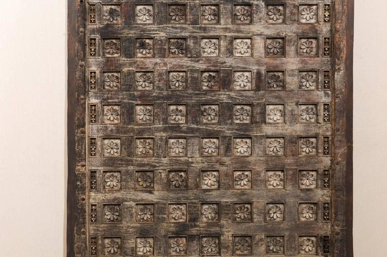 Iron 19th Century Indian Ceiling Panel / Wall Decor with Carved Lotus Flower Details For Sale