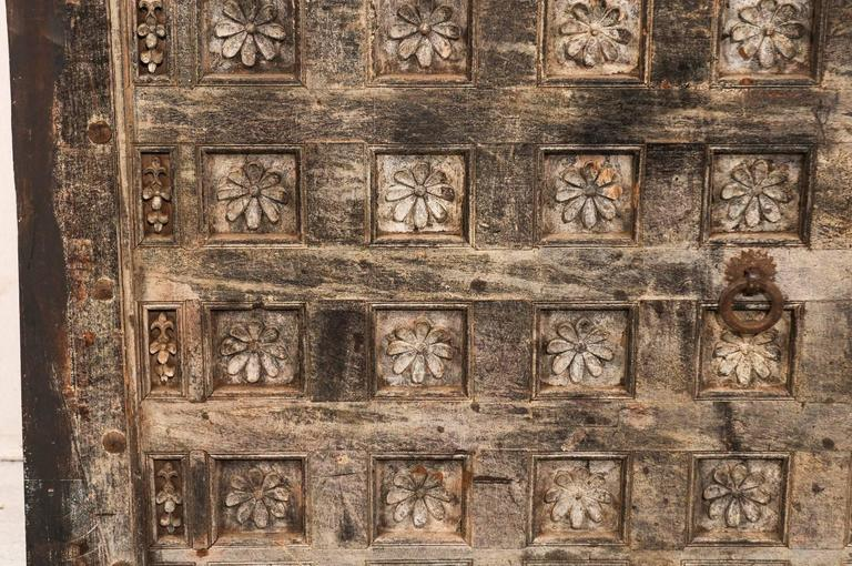 19th Century Indian Ceiling Panel / Wall Decor with Carved Lotus Flower Details For Sale 2