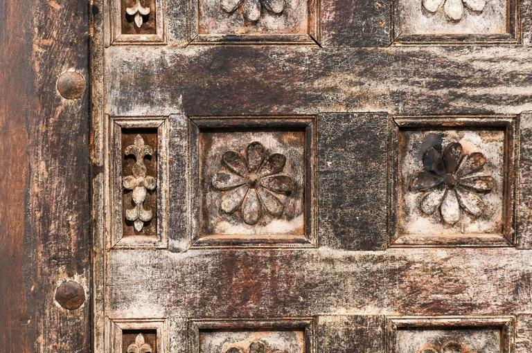 19th Century Indian Ceiling Panel / Wall Decor with Carved Lotus Flower Details For Sale 3