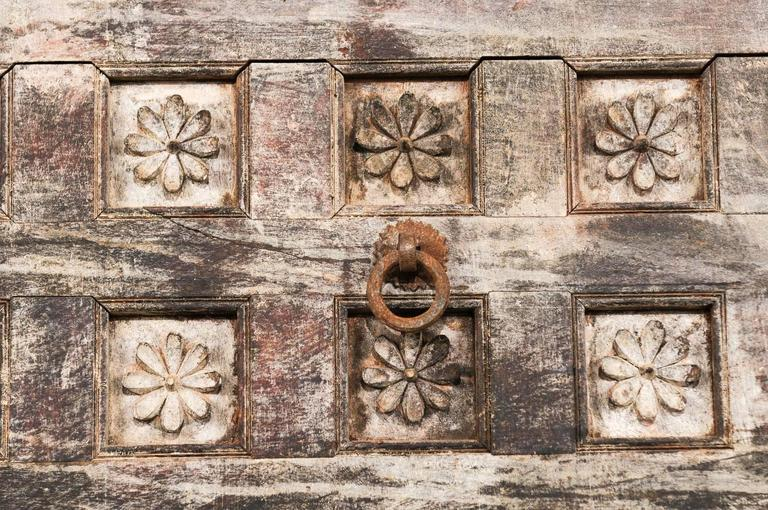 19th Century Indian Ceiling Panel / Wall Decor with Carved Lotus Flower Details For Sale 4