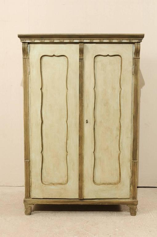 Swedish Mid 19th Century Two Door Painted Wood Cabinet