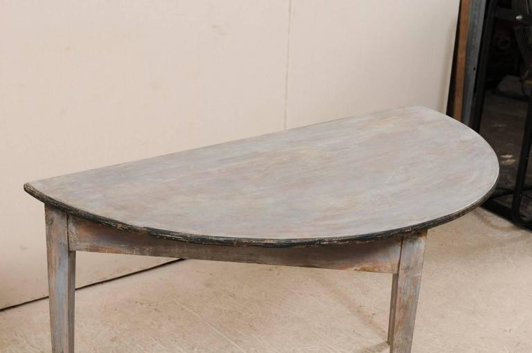 Pair of Swedish 19th Century Demilune Tables of Painted Wood in Blue Grey For Sale 2