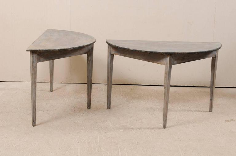 Pair of Swedish 19th Century Demilune Tables of Painted Wood in Blue Grey For Sale 3