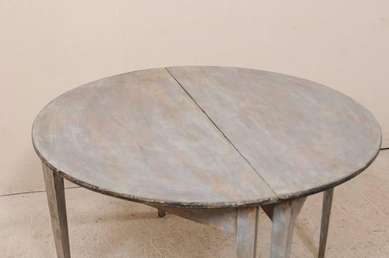 Pair of Swedish 19th Century Demilune Tables of Painted Wood in Blue Grey For Sale 4