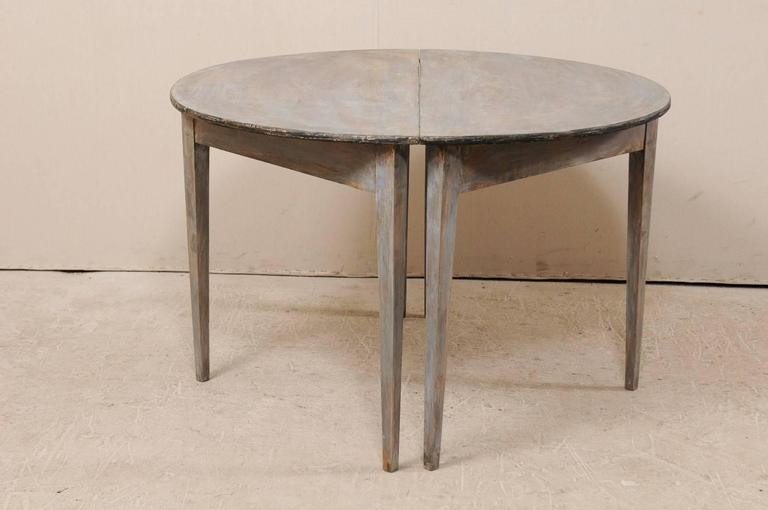 Pair of Swedish 19th Century Demilune Tables of Painted Wood in Blue Grey For Sale 5