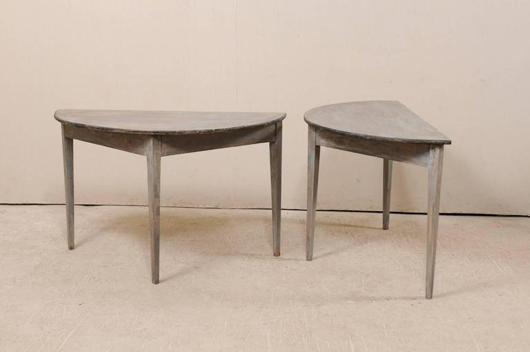 Pair of Swedish 19th Century Demilune Tables of Painted Wood in Blue Grey For Sale 6
