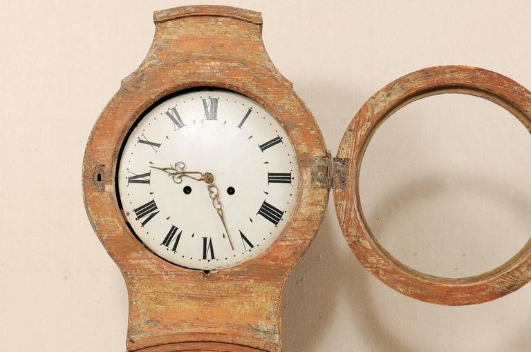 Th century swedish painted wood longcase floor clock
