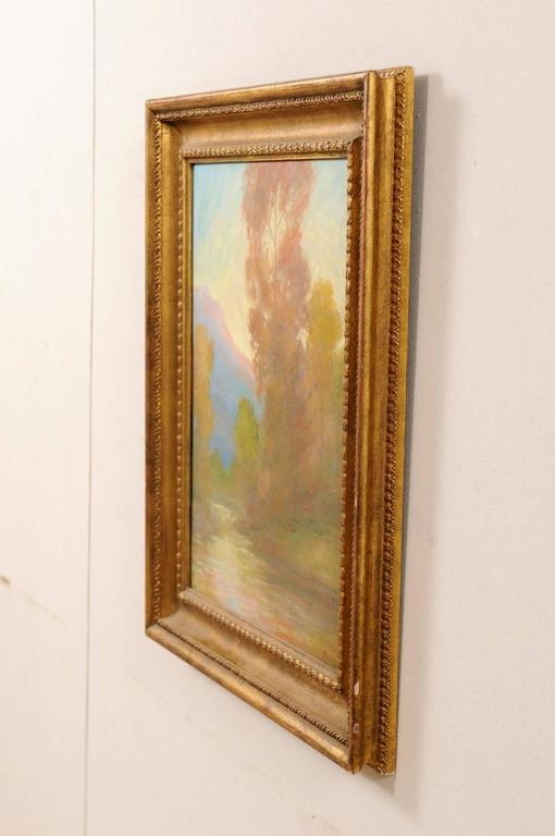 Canvas David Sterling, American Artist Oil Painting in Frame of Romantic Mountain Scene For Sale