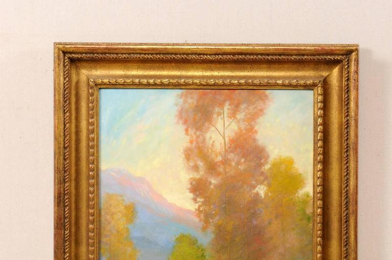 Painted David Sterling, American Artist Oil Painting in Frame of Romantic Mountain Scene For Sale