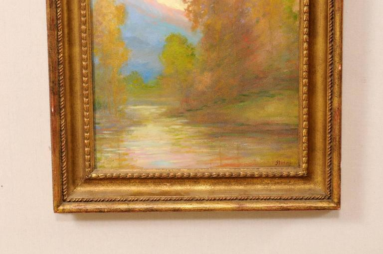 20th Century David Sterling, American Artist Oil Painting in Frame of Romantic Mountain Scene For Sale