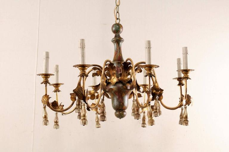 Italian Mid-Century Eight-Light Chandelier with Painted Stained Glass Effect For Sale 4