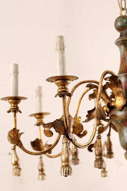 Carved Italian Mid-Century Eight-Light Chandelier with Painted Stained Glass Effect For Sale