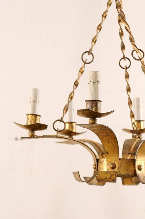 20th Century French Gold Colored Iron Mid-Century Six-Light Chandelier with Twisted Chains For Sale
