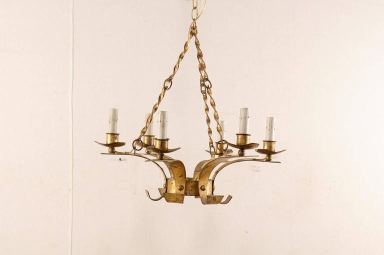 Painted French Gold Colored Iron Mid-Century Six-Light Chandelier with Twisted Chains For Sale