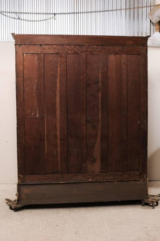 French 19th Century Large Painted Wood Bookcase With Sliding Doors At 1stdibs