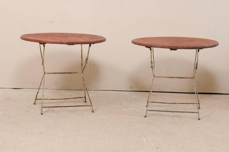Painted Pair of French Vintage Bistrot / Café Folding Patio / Porch Tables with Red Tops For Sale