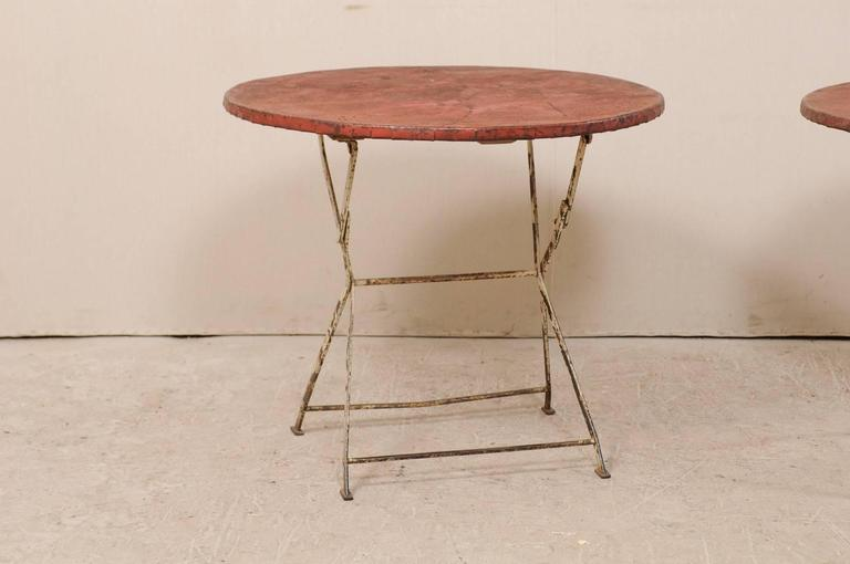 Pair of French Vintage Bistrot / Café Folding Patio / Porch Tables with Red Tops In Good Condition For Sale In Atlanta, GA