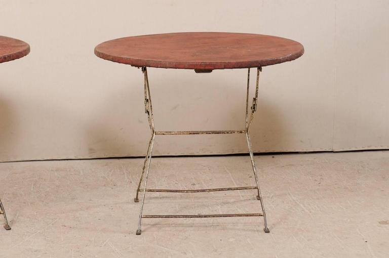 20th Century Pair of French Vintage Bistrot / Café Folding Patio / Porch Tables with Red Tops For Sale
