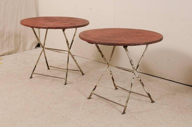 Metal Pair of French Vintage Bistrot / Café Folding Patio / Porch Tables with Red Tops For Sale