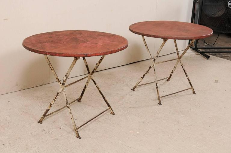 Pair of French Vintage Bistrot / Café Folding Patio / Porch Tables with Red Tops For Sale 1