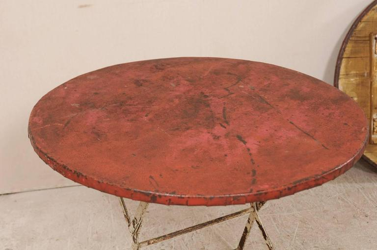 Pair of French Vintage Bistrot / Café Folding Patio / Porch Tables with Red Tops For Sale 2