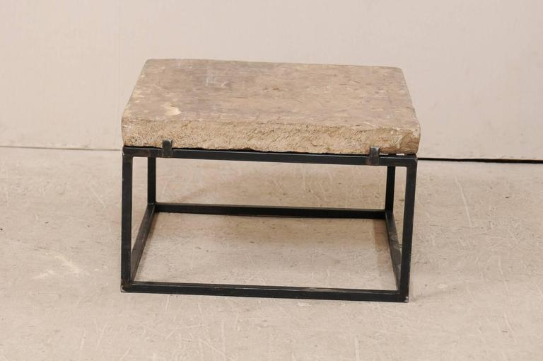 18th Century Spanish Carved Stone Top Coffee Table With Sleek Black Metal Base In Good Condition