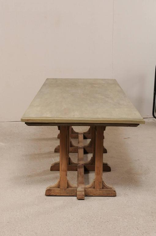 Vintage trestle dining table of nice old indian teak wood for Nice wood dining table