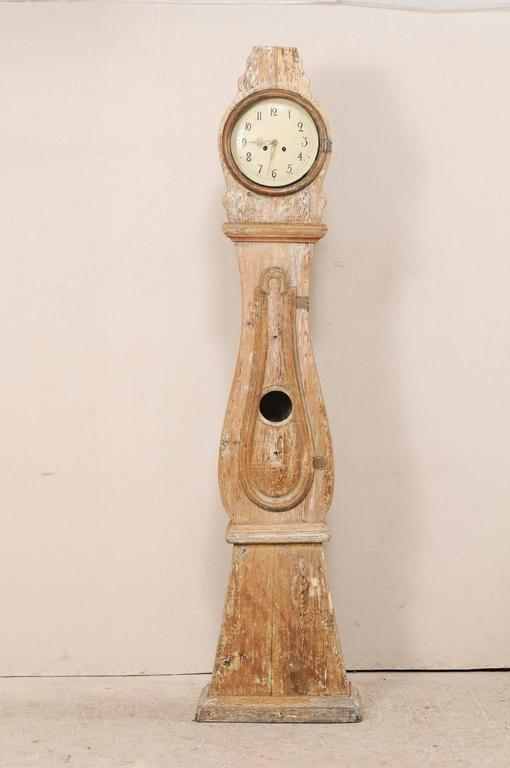 Th century swedish ft tall floor clock with scraped