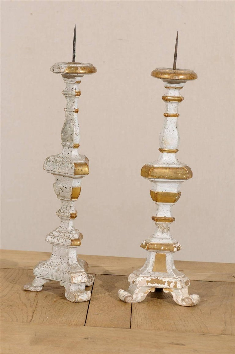 Pair of Italian 19th Century Painted Cream and Gilded Wood ...
