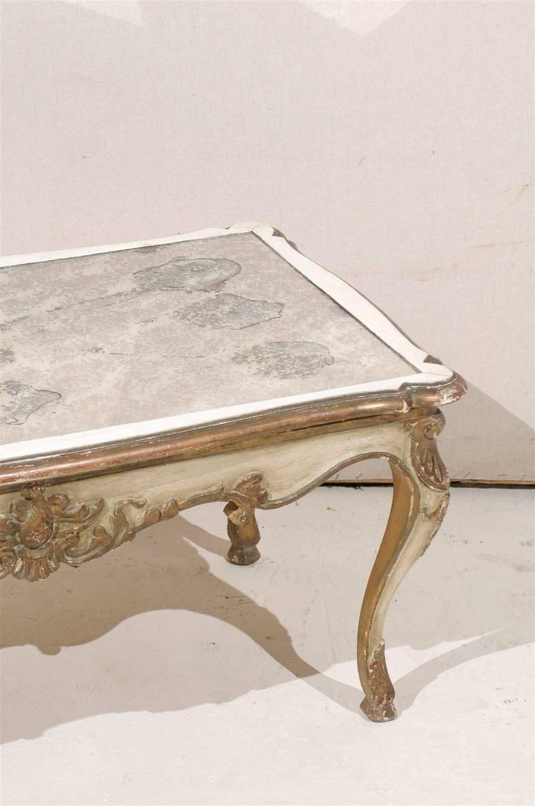 French Louis Xv Style Mid 20th Century Coffee Table With Glass Mirror Top For Sale At 1stdibs