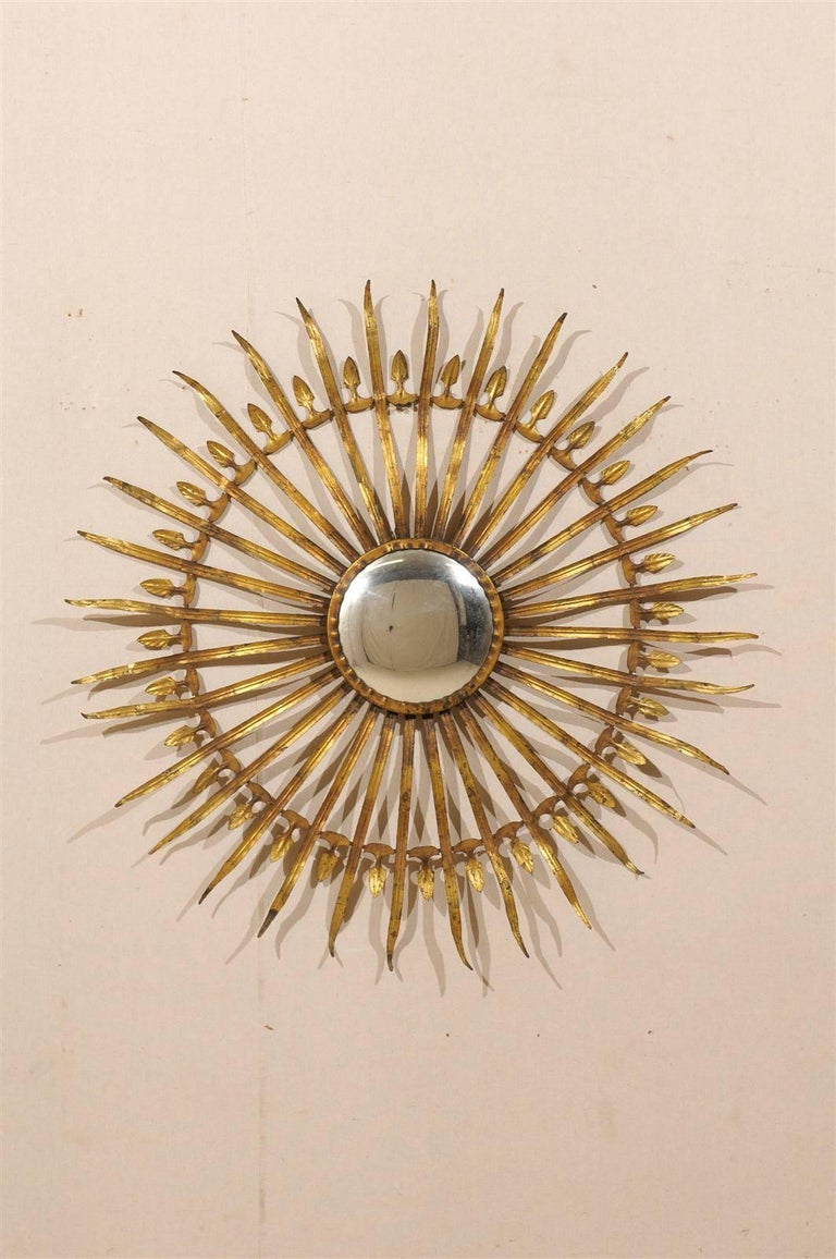 French Sunburst And Foliage Motif Gilded Metal Wall