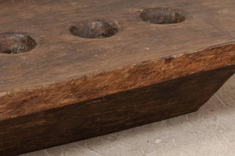 Primitive Naga Hand-Carved Wood Rustic Grinding Table From