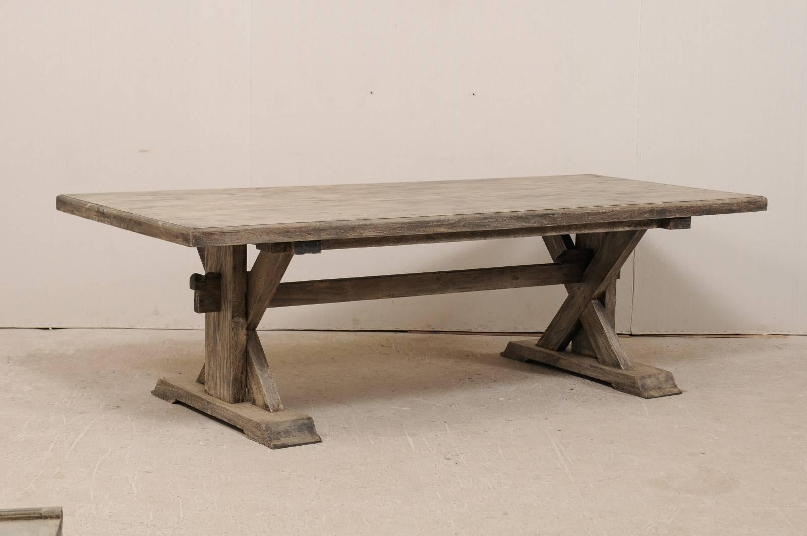 An American Trestle Base Dining Room Table. This 8.5 Foot Long, Vintage  American Trestle