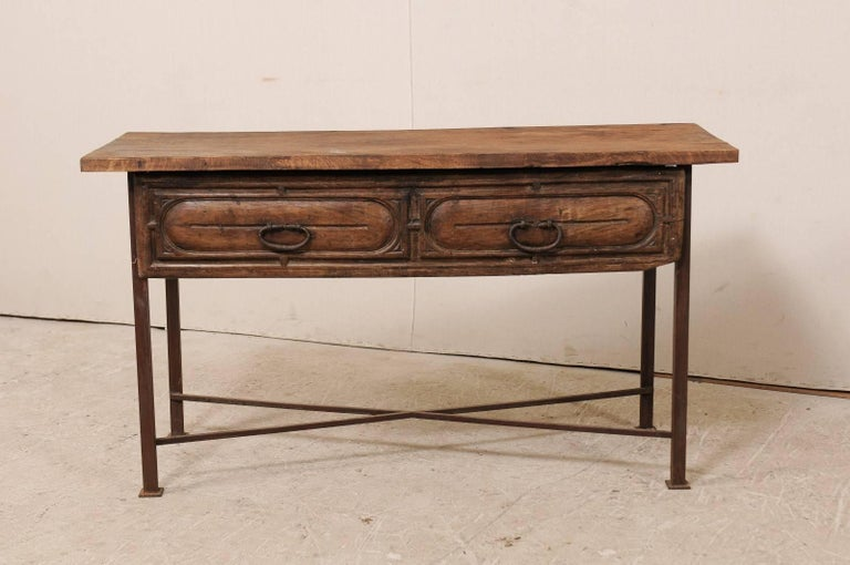 Rustic Iron Console Table ~ Th century spanish rustic wood and iron console table