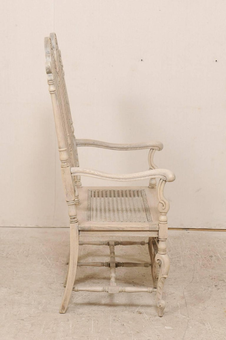 Antique English Wood And Cane Double Back Bench Chair