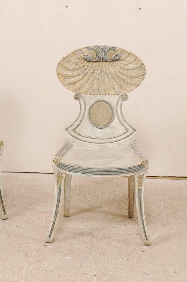 Pair of vintage grotto painted beige wood chairs with
