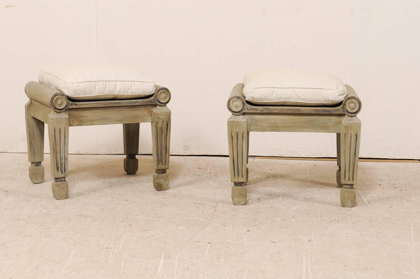 Pair of Carved and Painted Brazilian Wood Stools with Fluted and Tapered Legs 3 : carved wood stool - islam-shia.org