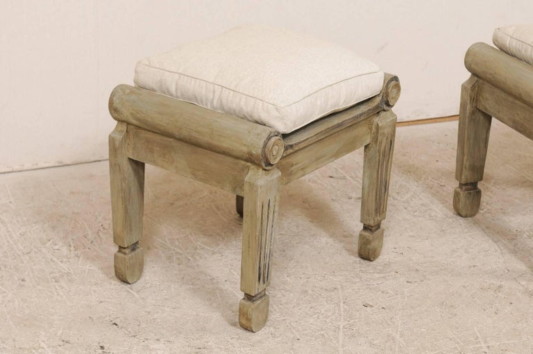 Pair Of Carved And Painted Brazilian Wood Stools With