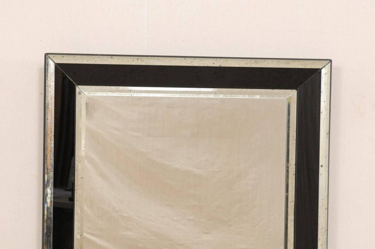 Vintage Large Rectangular Wall Mirror With Black And