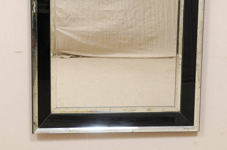 5.75 Ft Tall Rectangular Mirror Accentuated w/ Black & Antiqued Glass Surround  In Good Condition For Sale In Atlanta, GA